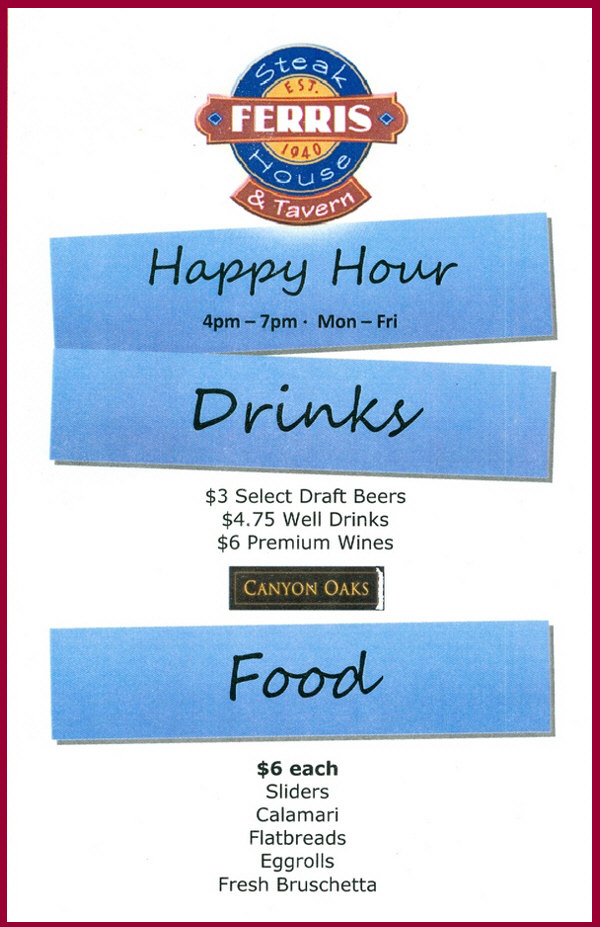 Ferris Restaurant Rocky River Happy Hour Specials
